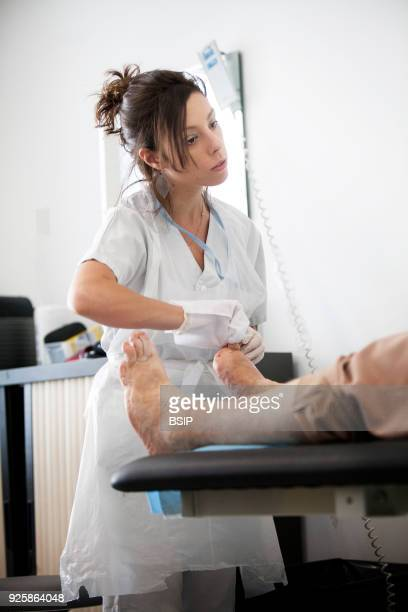 Diabetic feet consultations, Savoie, France, specialized team devoted to treatment and after-care for diabetic patients foot lesions. The nurse...