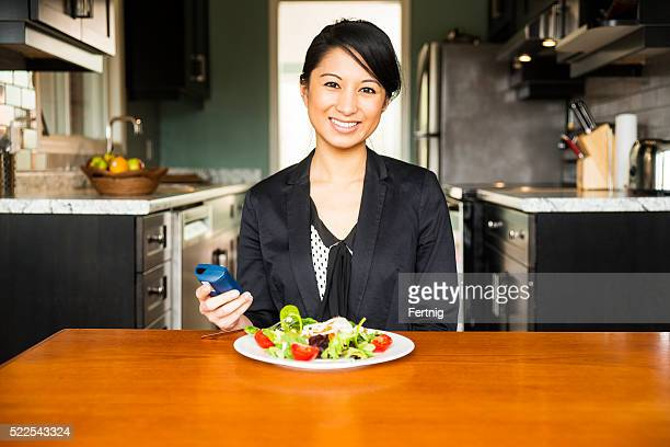 Diabetic woman enjoying a healthy salad