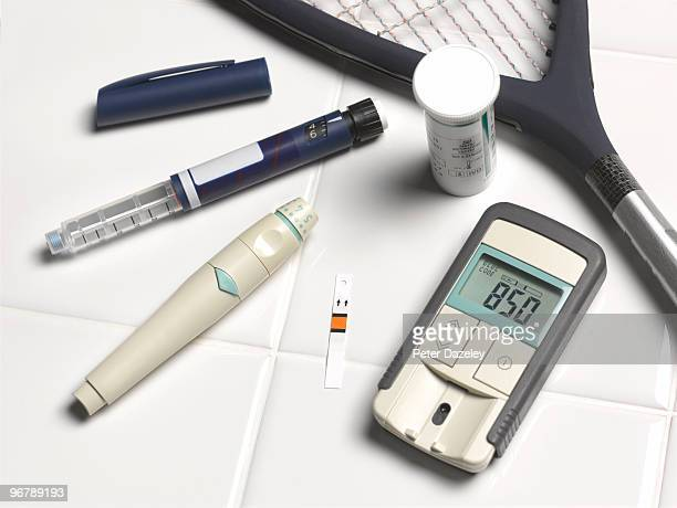 Diabetic's blood sugar level test kit and insulin