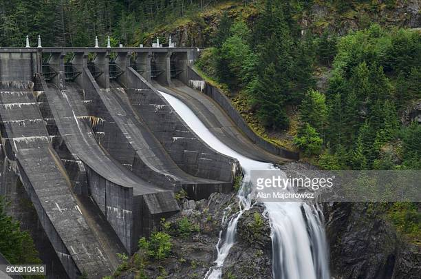 diablo dam spillway - ross lake stock photos and pictures