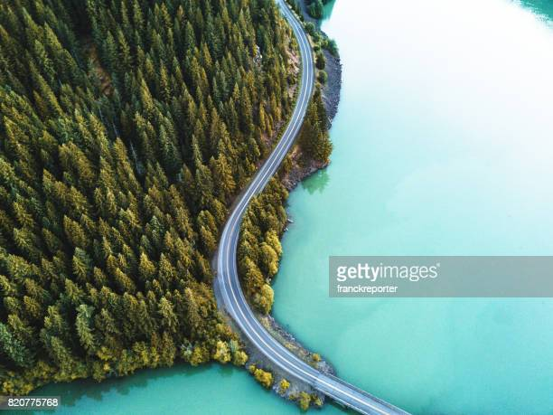 diablo lake aerial view - thoroughfare stock photos and pictures