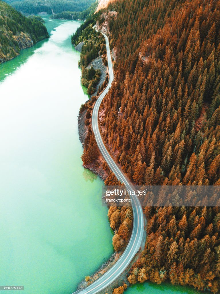 diablo lake aerial view : Stock Photo