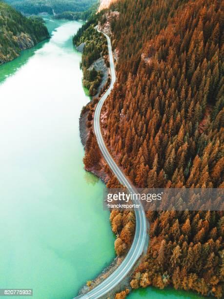 diablo lake aerial view - diablo lake stock photos and pictures