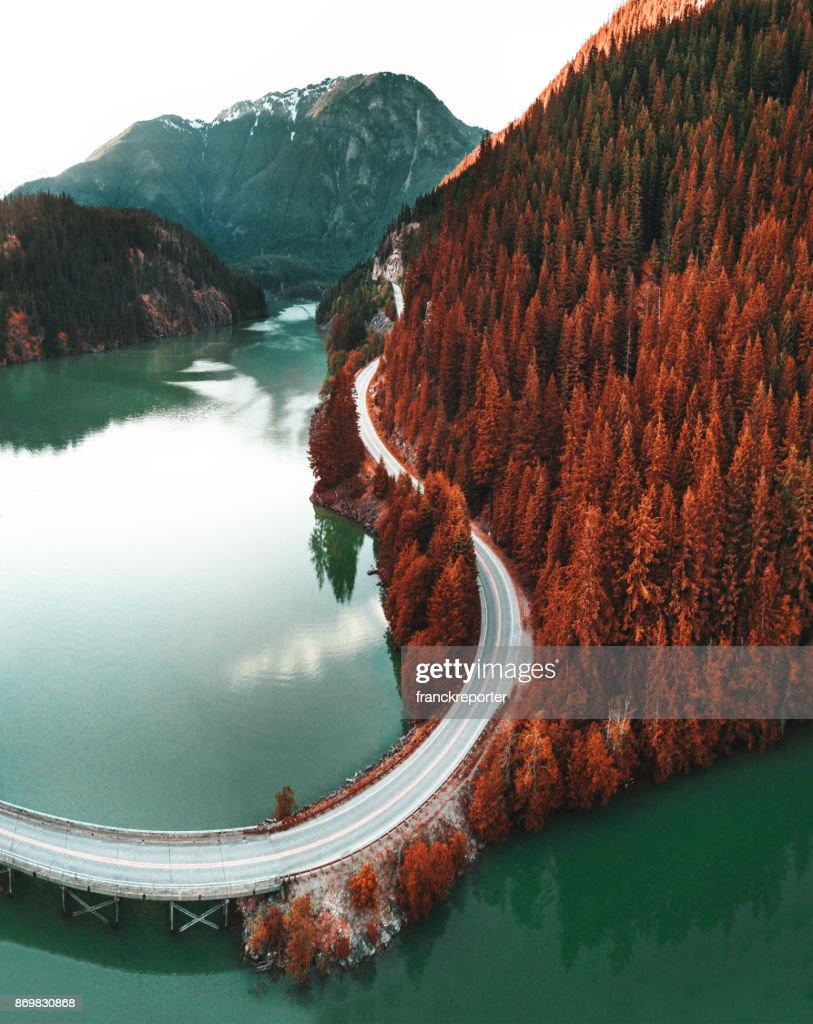 diablo lake aerial view : Stock Photo