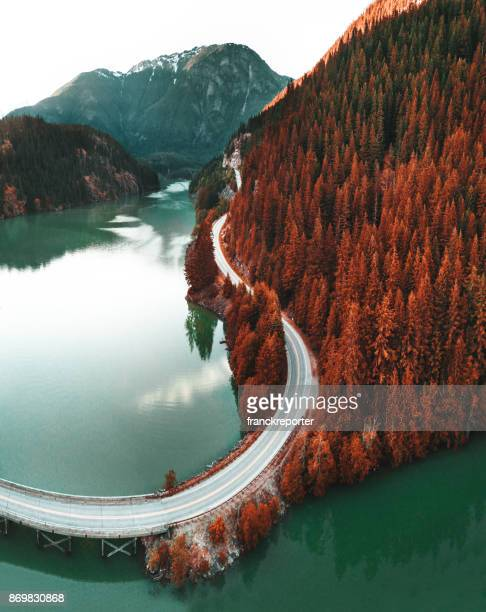 diablo lake aerial view - washington state stock pictures, royalty-free photos & images