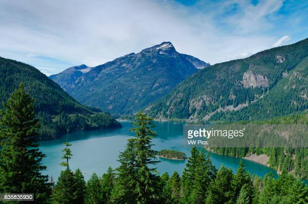 Diablo Lake and Davis Peak from Diable Lake Overlook Ross Lake National Recreation Area North Cascades Washington