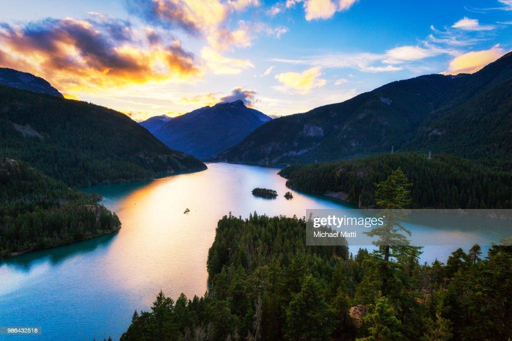 Diablo Lake in the North Cascades Sunset by Michael Matti : Stock Photo