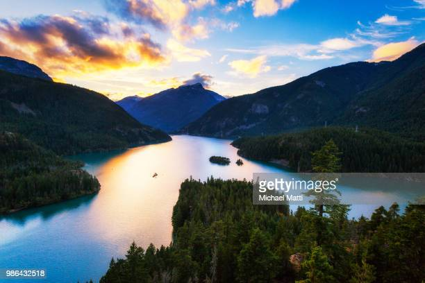 diablo lake in the north cascades sunset by michael matti - diablo lake stock photos and pictures