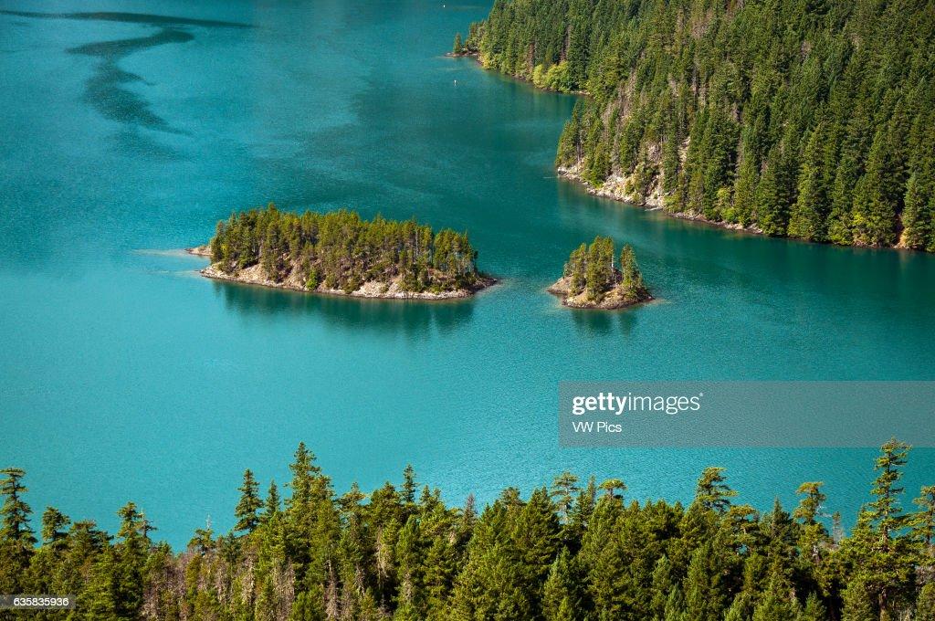 Diablo Lake islands from overlook : News Photo