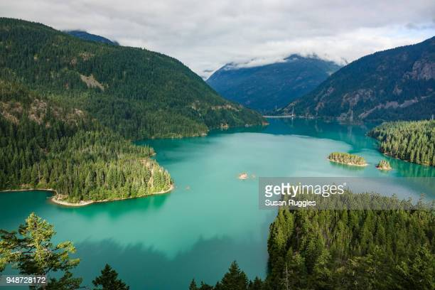 diablo lake overlook - diablo lake stock photos and pictures