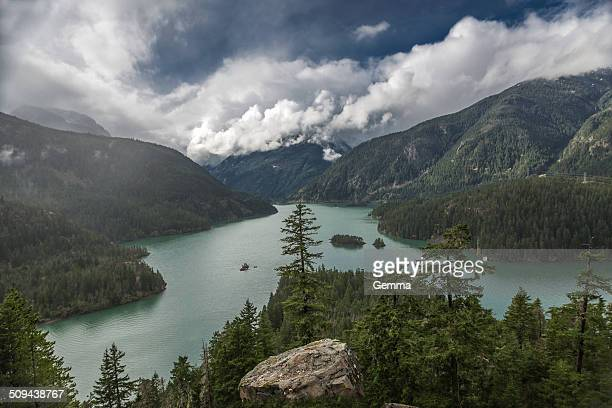 diablo lake - ross lake stock photos and pictures
