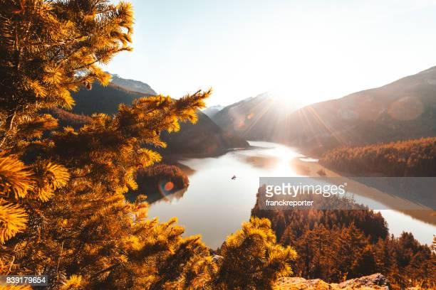 diablo lake view - diablo lake stock photos and pictures