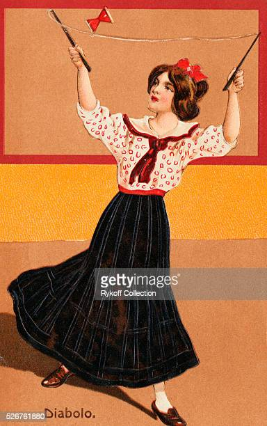 Diabolo a game played with a sort of top in the shape of two cones joined at their apexes which is spun thrown and caught by means of a cord strung...