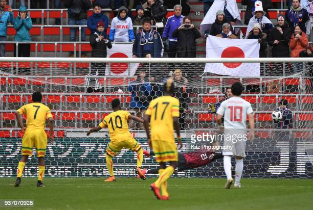 Diaby Abdoulaye of Mali scores the opener from the spot during the International friendly match between Japan and Mali at the Stade de Sclessin on...