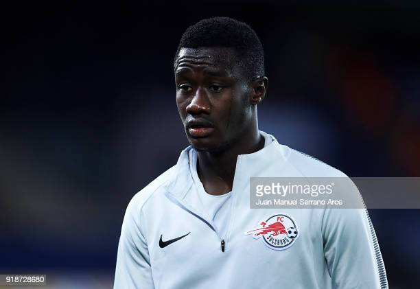 Diadie Samassekou of FC Red Bull Salzburg looks on during UEFA Europa League Round of 32 match between Real Sociedad and FC Red Bull Salzburg at the...
