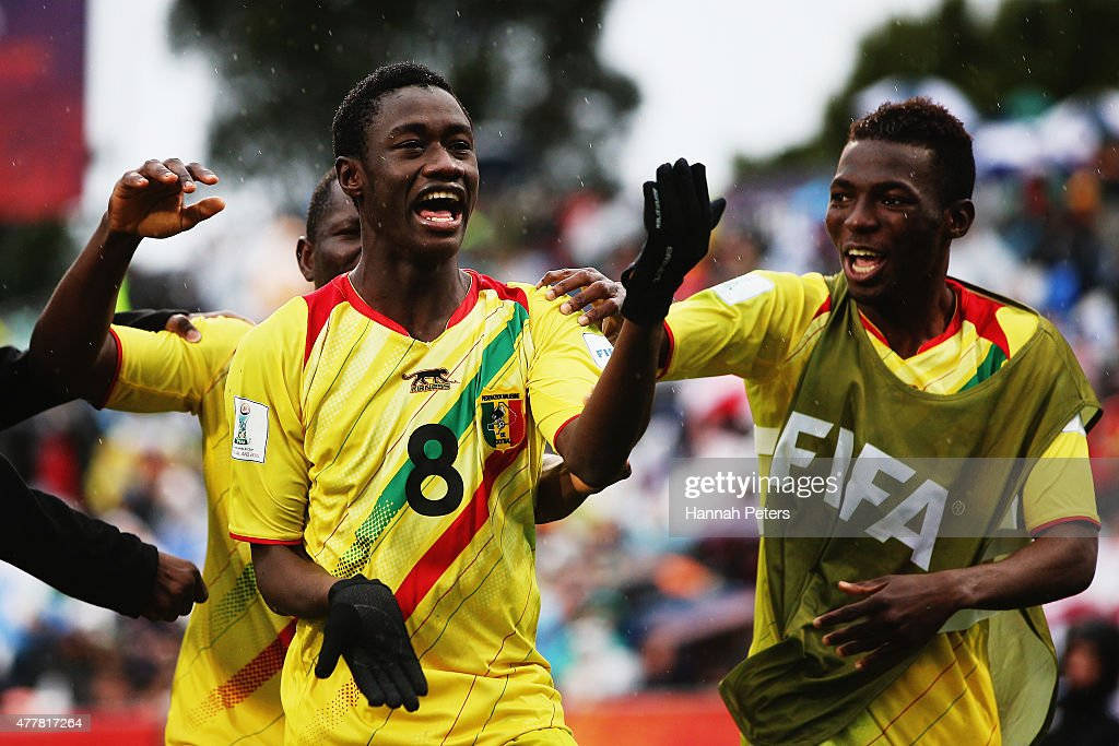 Diadie Samassekou of Mali celebrates after scoring a goal during the FIFA U-20 World Cup Third Place Play-off match between Senegal and Mali at North Harbour Stadium on June 20, 2015 in Auckland, New Zealand.