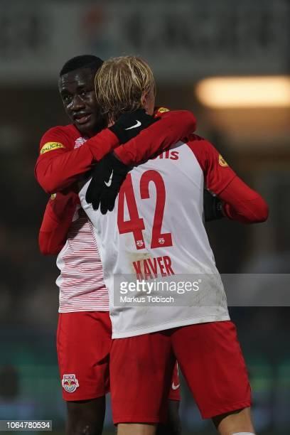 Diadie Samassekou of RB Salzburg and Xaver Schlager of RB Salzburg celebrates after scoring a goal during the tipico Bundesliga match between TSV...