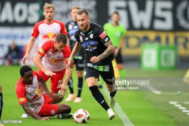 Diadie Samassekou of RB Salzburg Stefan Lainer of RB Salzburg Fredrik Gulbrandsen of RB Salzburg and Peter Zulj of Sturm Graz during the tipico...