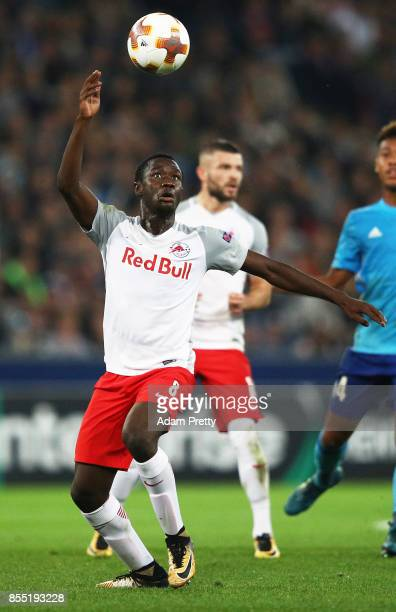 Diadie Samassekou of Red Bull Salzburg in action during the UEFA Europa League group I match between RB Salzburg and Olympique Marseille at Red Bull...