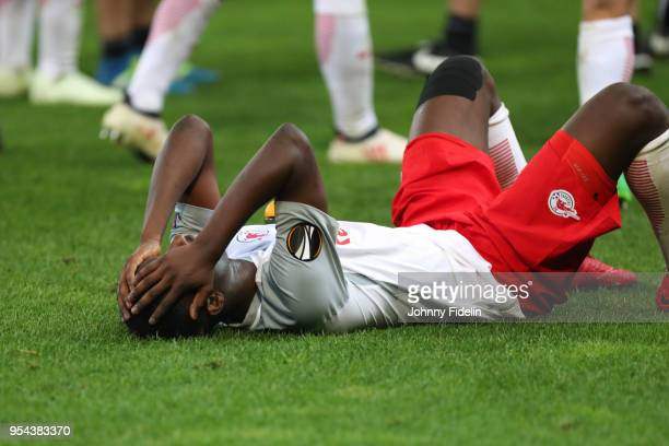 Diadie Samassekou of Salzburg looks dejected during the Semi Final Second Leg Europa League match between RB Salzburg and Marseille at Red Bull Arena...