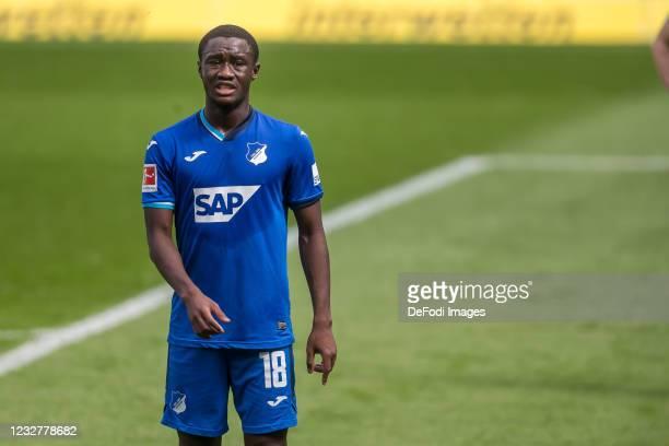 Diadie Samassekou of TSG 1899 Hoffenheim Looks on during the Bundesliga match between TSG Hoffenheim and FC Schalke 04 at PreZero-Arena on May 8,...