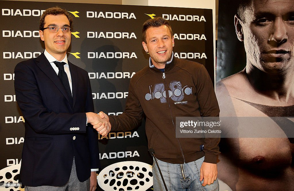 Diadora President Enrico Moretti Polegato (L) and UC Sampdoria forward Antonio Cassano (R) attend the Diadora Press Conference held at Diadora Store on April 23, 2010 in Milan, Italy.