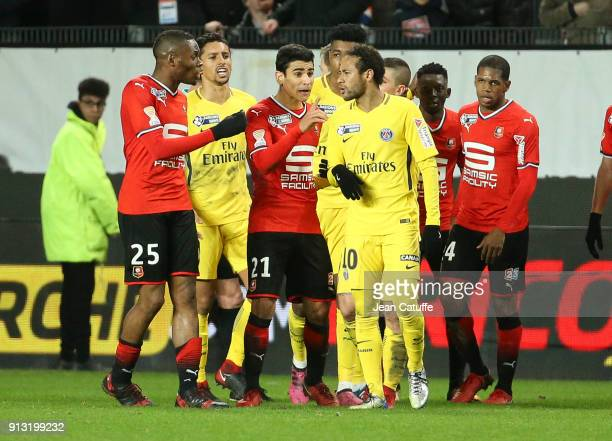 Diafra Sakho and Benjamin Andre of Stade Rennais argue with Neymar Jr of PSG during the French League Cup match between Stade Rennais and Paris Saint...