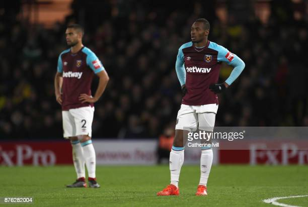 Diafra Sakho and Winston Reid of West Ham United look dejected during the Premier League match between Watford and West Ham United at Vicarage Road...