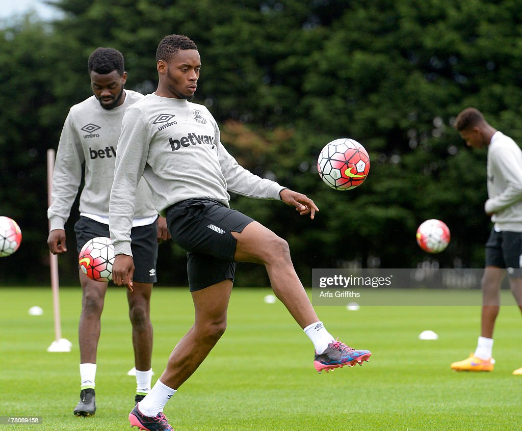 Diafra Sakho during the first West Ham United training session of the pre-season at Chadwell Heath on June 22, 2015 in London, England.