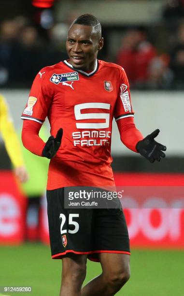 Diafra Sakho of Stade Rennais during the French League Cup match between Stade Rennais and Paris Saint Germain at Roazhon Park on January 30 2018 in...