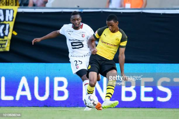 Diafra Sakho of Stade Rennes and Abdou Diallo of Dortmund battle for the ball during the friendly match between Borussia Dortmund and Stade Rennais...