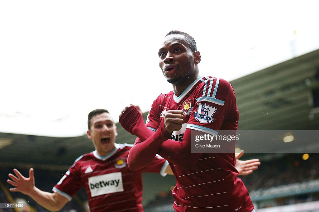 Diafra Sakho of West Ham celebrates after scoring his team's second goal during the Barclays Premier League match between Tottenham Hotspur and West Ham United at White Hart Lane on February 22, 2015 in London, England.