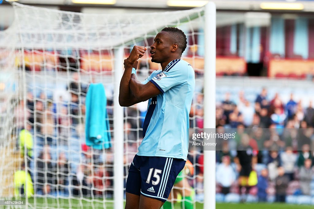 Diafra Sakho of West Ham celebrates after scoring the opening goal with a header during the Barclays Premier League match between Burnley and West Ham United at Turf Moor on October 18, 2014 in Burnley, England.