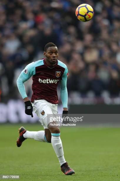 Diafra Sakho of West Ham in action during the Premier League match between West Ham United and Chelsea at London Stadium on December 09 2017 in...