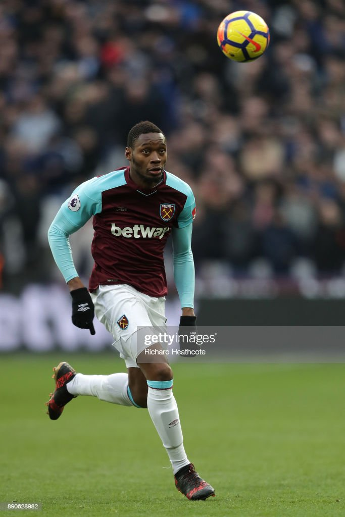 Diafra Sakho of West Ham in action during the Premier League match between West Ham United and Chelsea at London Stadium on December 09, 2017 in London, England.