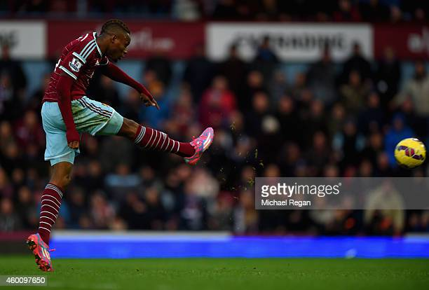 Diafra Sakho of West Ham scores their third goal during the Barclays Premier League match between West Ham United and Swansea City at Boleyn Ground...