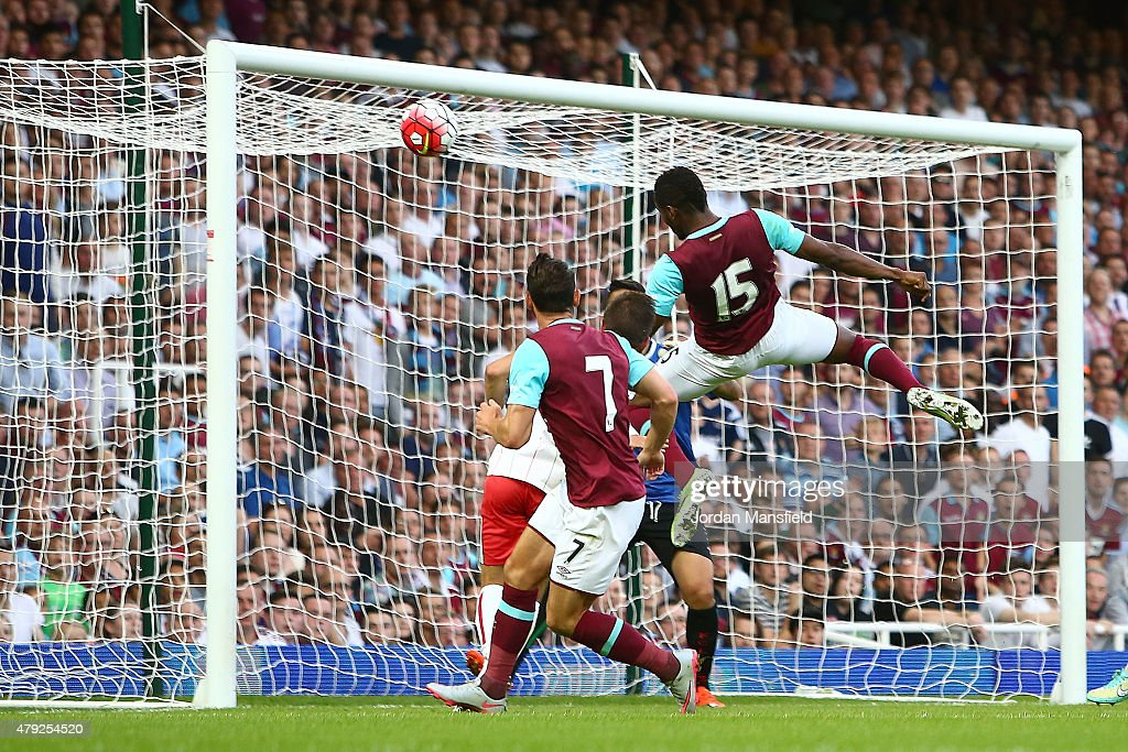 Diafra Sakho of West Ham scores to make it 1-0 during the UEFA Europa League match between West Ham United and FC Lusitans at Boleyn Ground on July 2, 2015 in London, England.