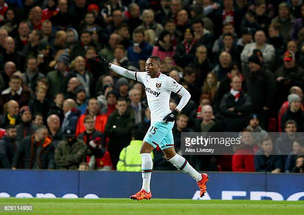 Diafra Sakho of West Ham United celebrates scoring his sides first goal during the Premier League match between Manchester United and West Ham United...