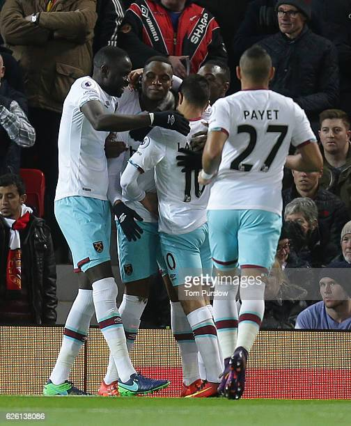 Diafra Sakho of West Ham United celebrates scoring their first goalduring the Premier League match between Manchester United and West Ham United at...