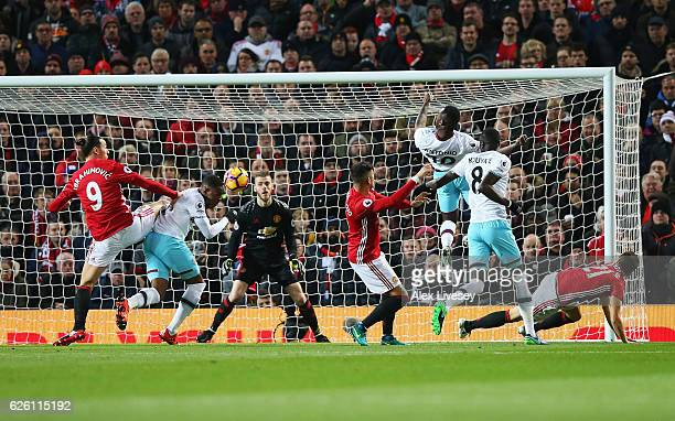 Diafra Sakho of West Ham United scores his sides first goal during the Premier League match between Manchester United and West Ham United at Old...