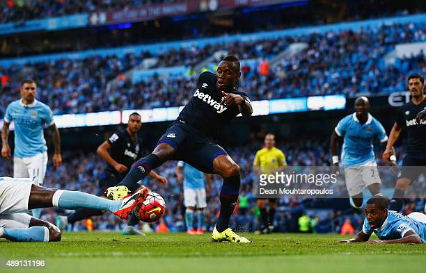 Diafra Sakho of West Ham United scores his team's second goal during the Barclays Premier League match between Manchester City and West Ham United at...
