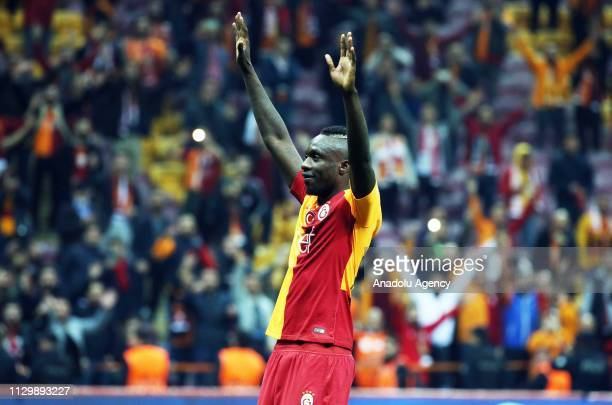 Diagne Mbaye of Galatasaray celebrates after the Turkish Super Lig soccer match between Galatasaray and Antalyaspor at Turk Telekom Stadium in...