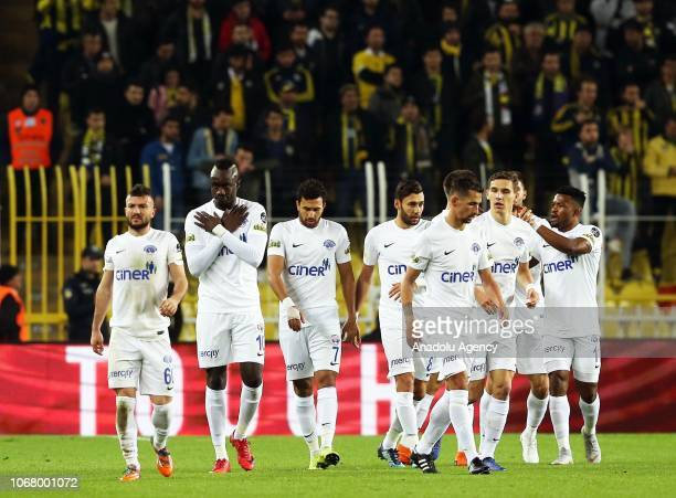 Diagne Mbaye of Kasimpasa celebrates after scoring a goal during the Turkish Super Lig week 14 football match between Fenerbahce and Kasimpasa at...