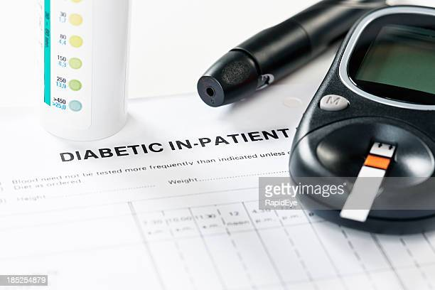 Diagnostic equipment for diabetics: glucometer test strips and automatic lancet