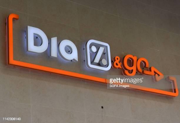 A 'DiaGo' logo seen at a 'DiaGo' supermarket in Madrid