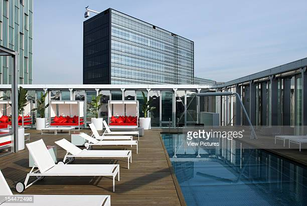 Diagonal MarSpain Architect Barcelona Me Hotel Exterior View Of The Roof Pool And Deck Chairs