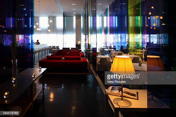 Diagonal MarSpain Architect Barcelona Me Hotel Ground Floor Restaurant And Dinning Area With View Of Library Glass Walls