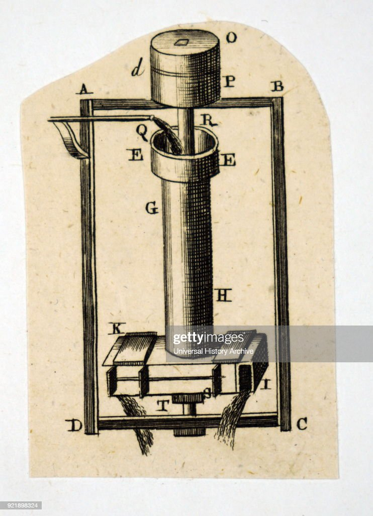 Diagram depicting a baker's mill (or possibly a hydraulic tourniquet) which was powered by the lateral pressure of the liquid which flowed into the top of the cylinder. Dated 18th century.
