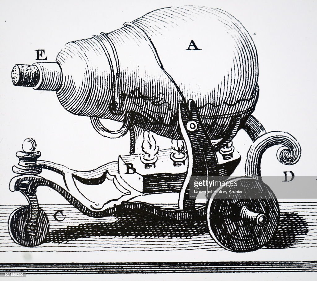 when water in vessel, A), heated to boiling by heat at B), the cork at E) was pushed out by expansion and the jet of steam makes the cart move from left to right. Dated 18th century.