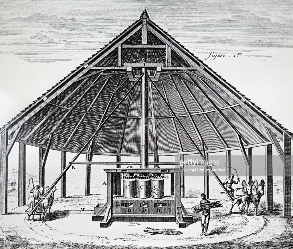 Diagram depicting a mill used for crushing sugar cane with the use of mules. Dated 18th century.
